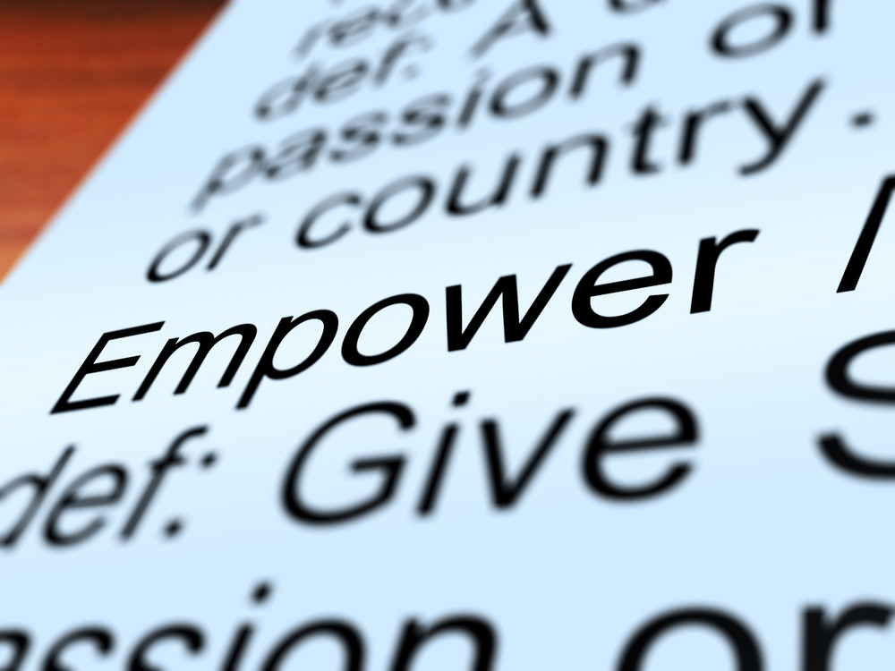 Empower Definition Closeup Showing Authority Or Power