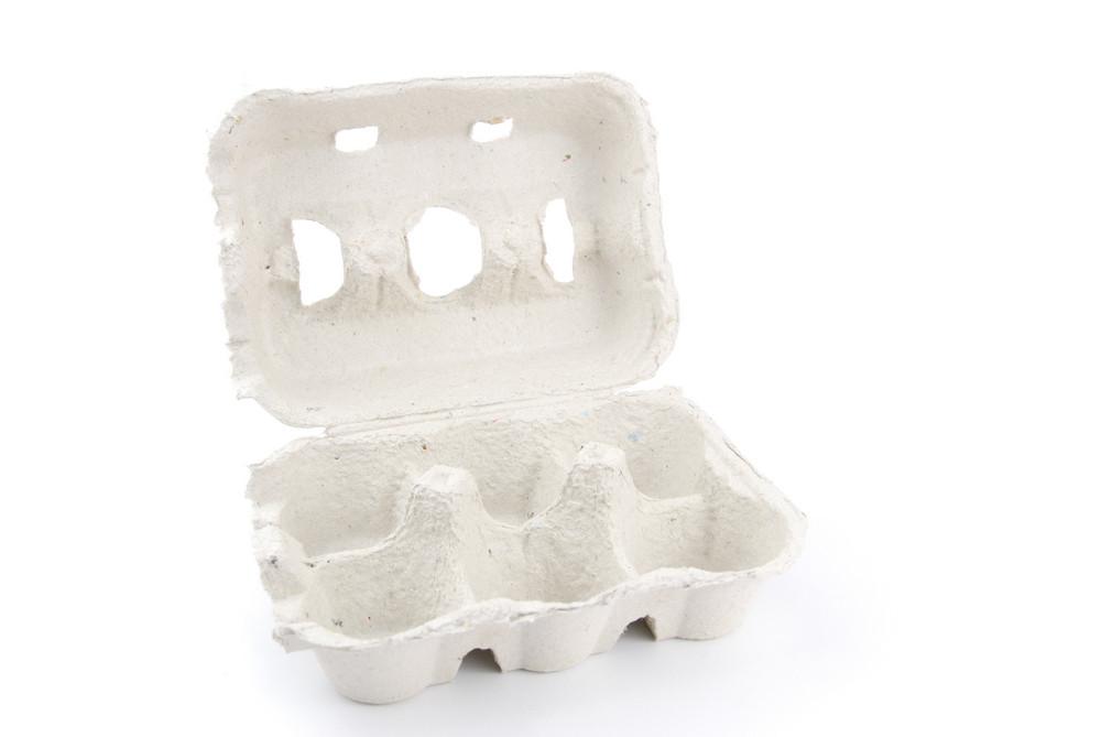 Empty 6 Eggs Box On White