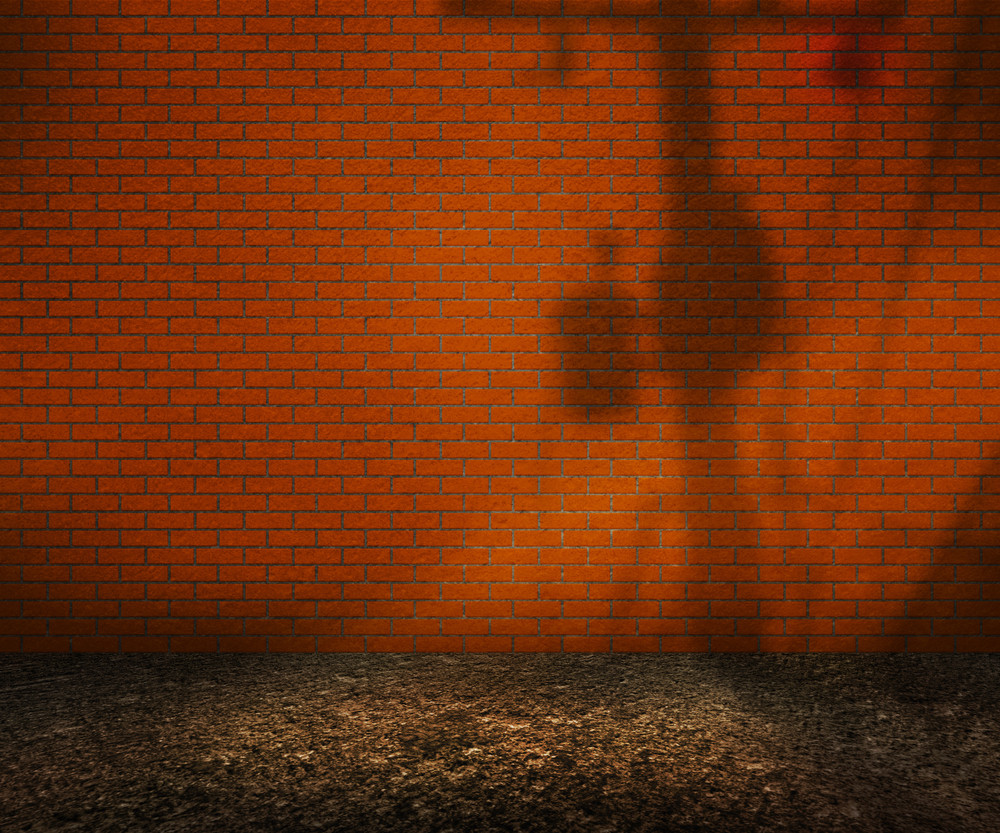 Empty Orange Brick Backyard Background