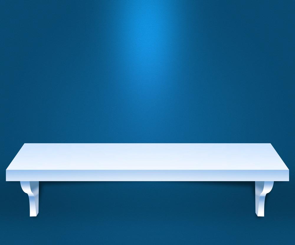 Empty Shelf Blue Background