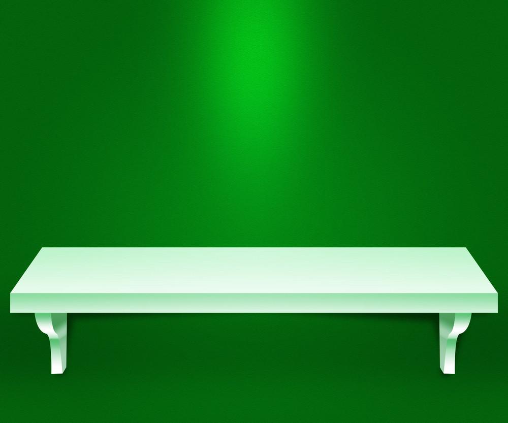 Empty Shelf Green Background