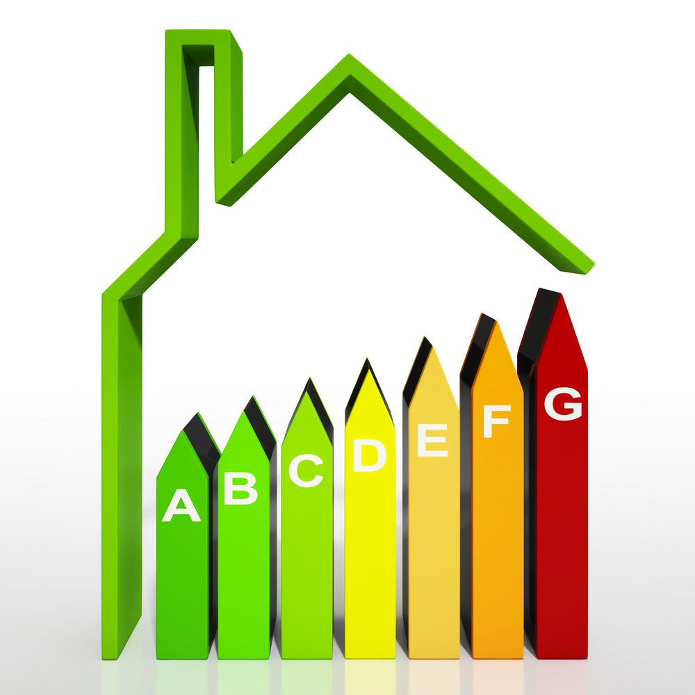 Energy Efficiency Rating Diagram Shows Green House
