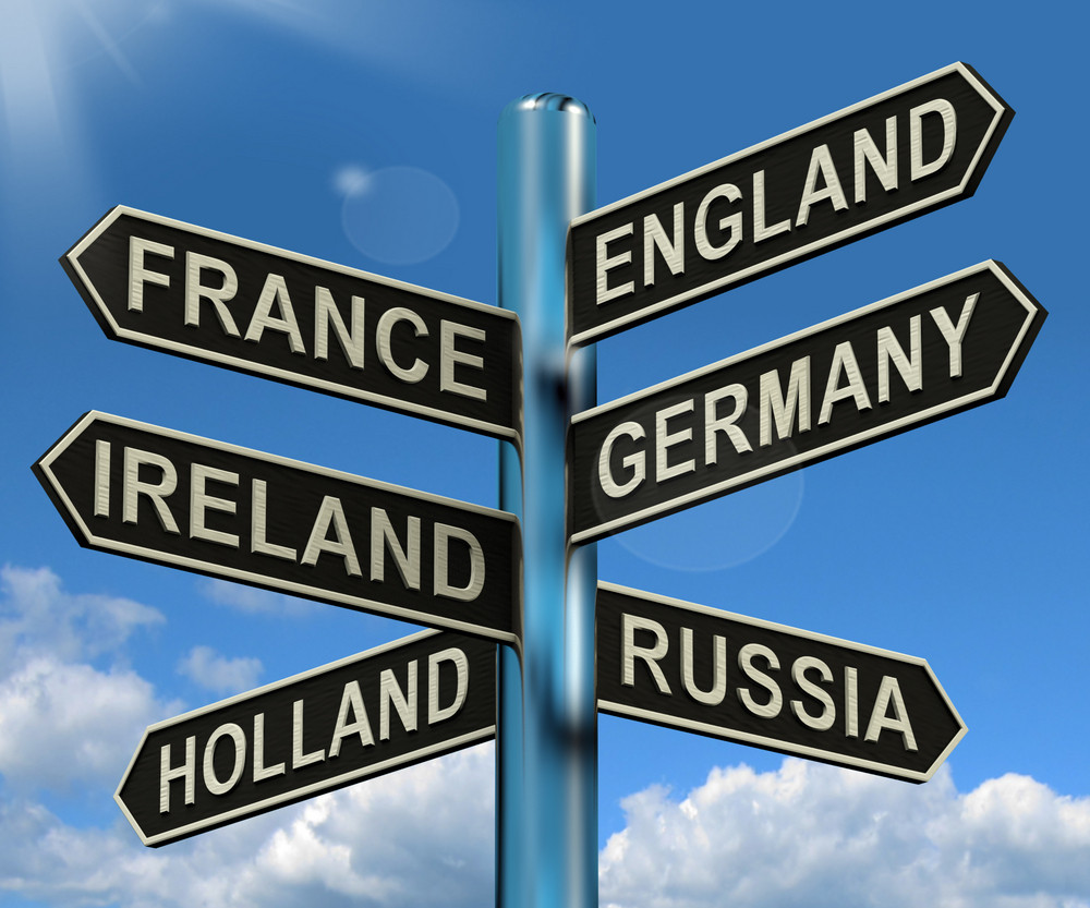 England France Germany Ireland Signpost Showing Europe Travel Tourism And Destinations