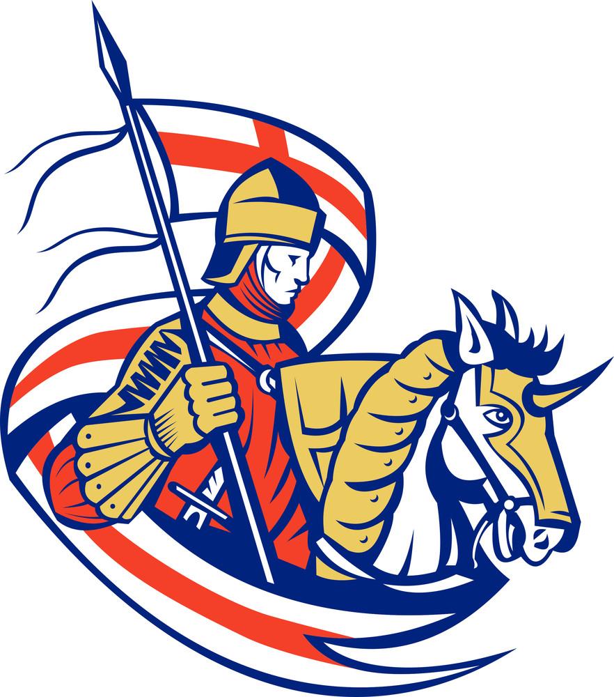 English Knight England Flag Shield Horse Retro