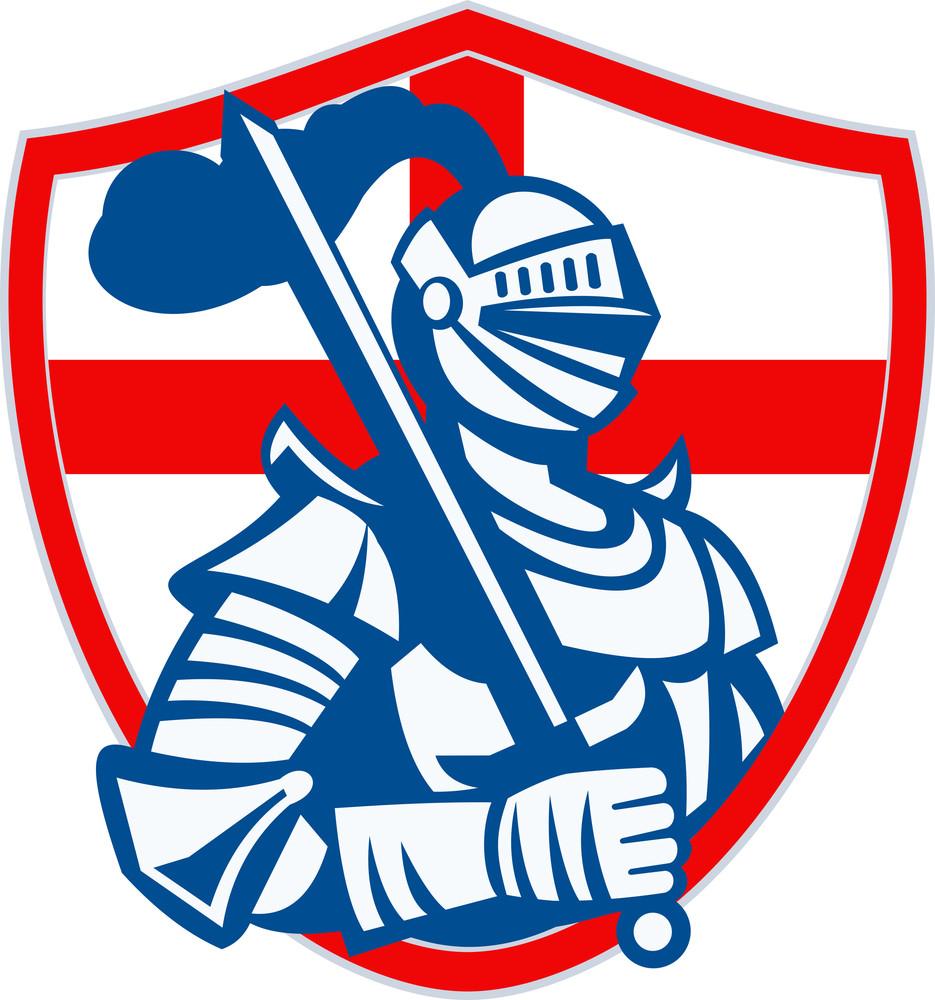 english knight hold sword england shield flag retro royalty free