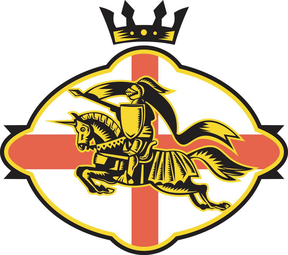 English Knight Riding Horse Lance Retro