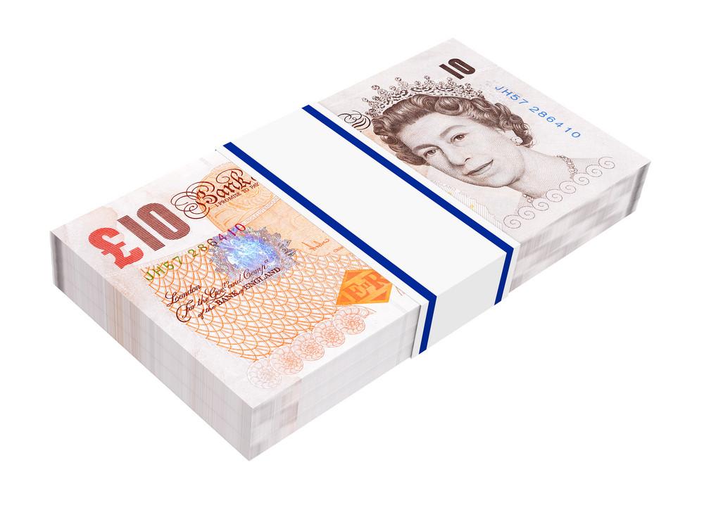 English Money Isolated On White Background