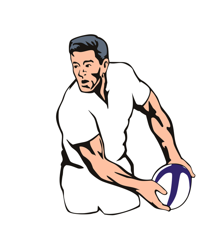 English Rugby Player Passing Ball
