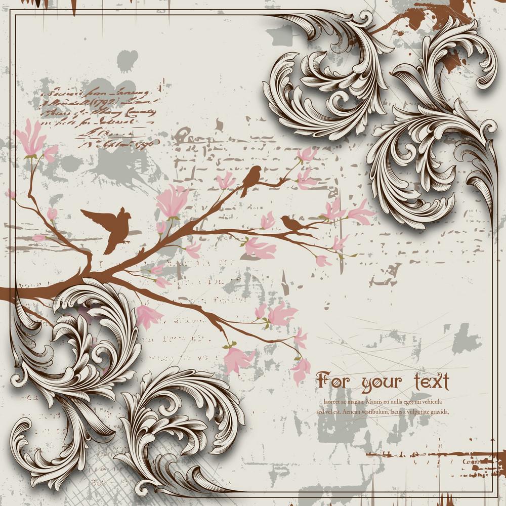 Engraved Floral Background Vector Illustration