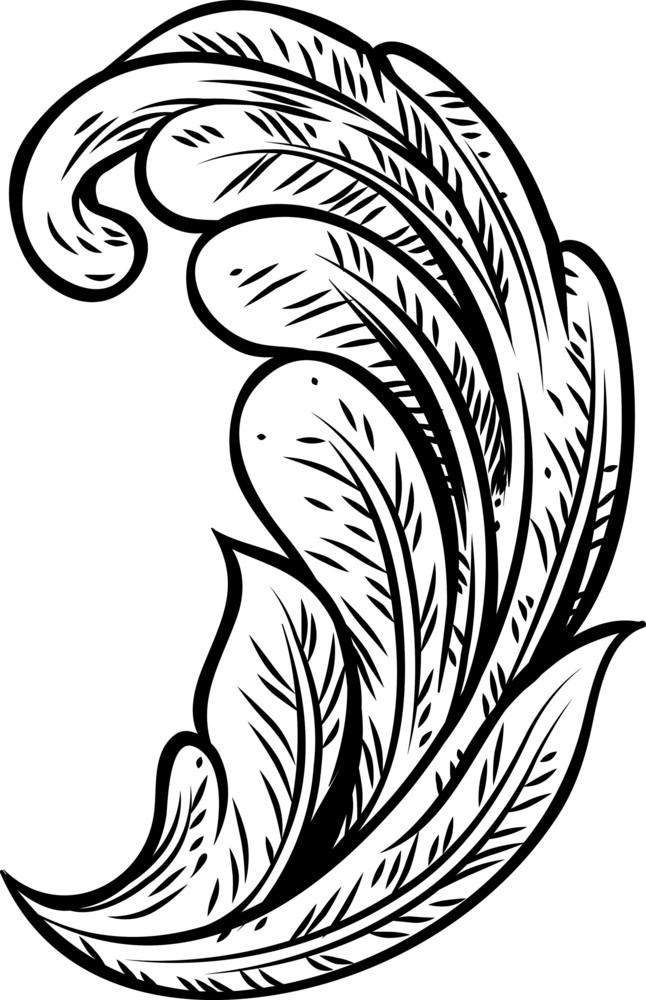 Engraved Floral Vector Element