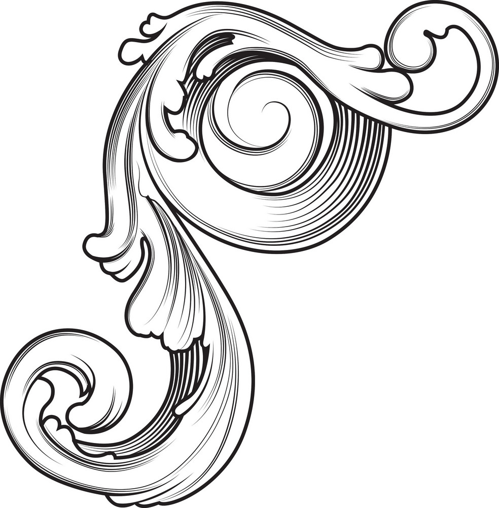 Engraved Floral Vector