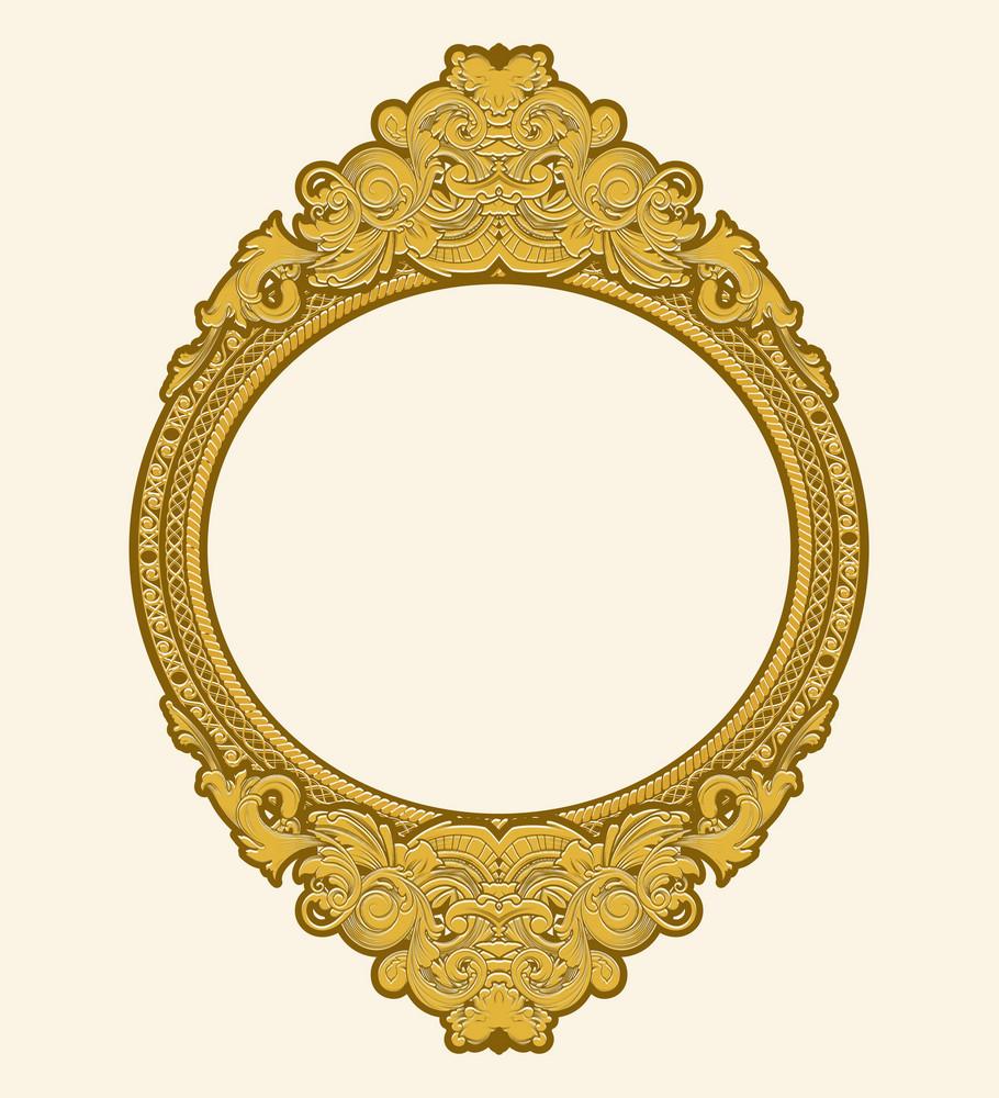 Engraved Gold Floral Frame Vector Illustation