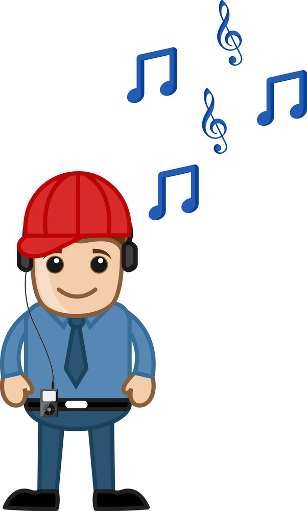 Enjoying Music - Business Cartoons Character