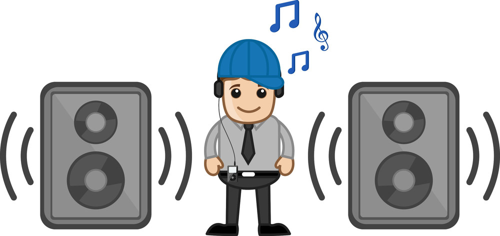 Enjoying Music - Business Cartoons Vectors