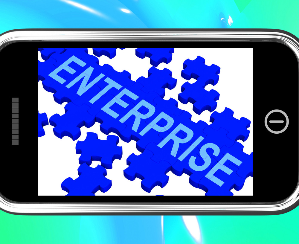 Enterprise On Smartphone Showing Company Development