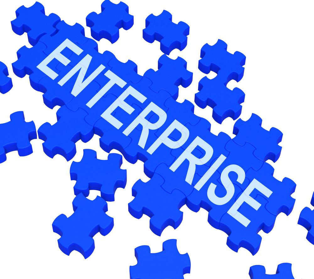 Enterprise Puzzle Showing Corporate Plans