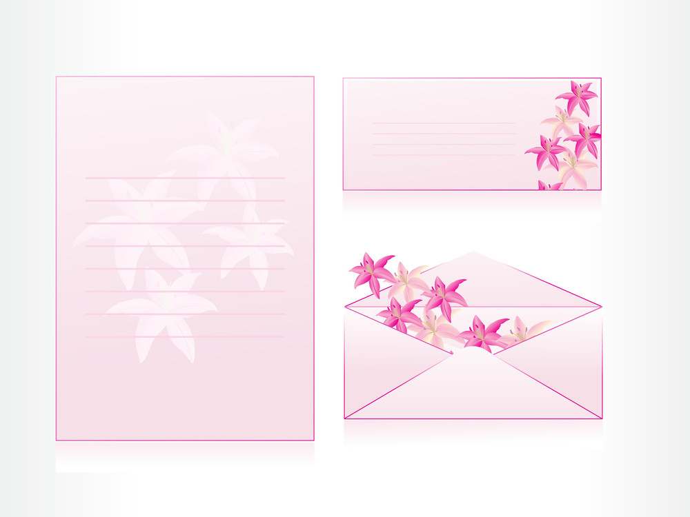 Envelope And Card With Floral Background