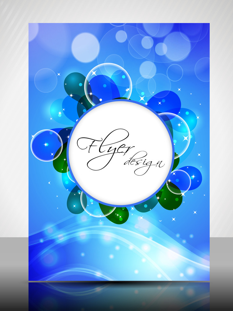 Eps 10 Flyer Design Presentation And Waves And With Blue Color. Editable Vector Illustration.