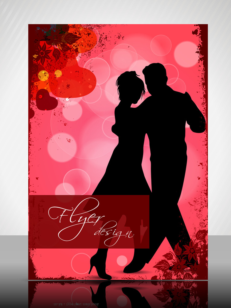 Eps 10 Love Concept Flyer Design Presentation With Couple. Editable Vector Illustration.