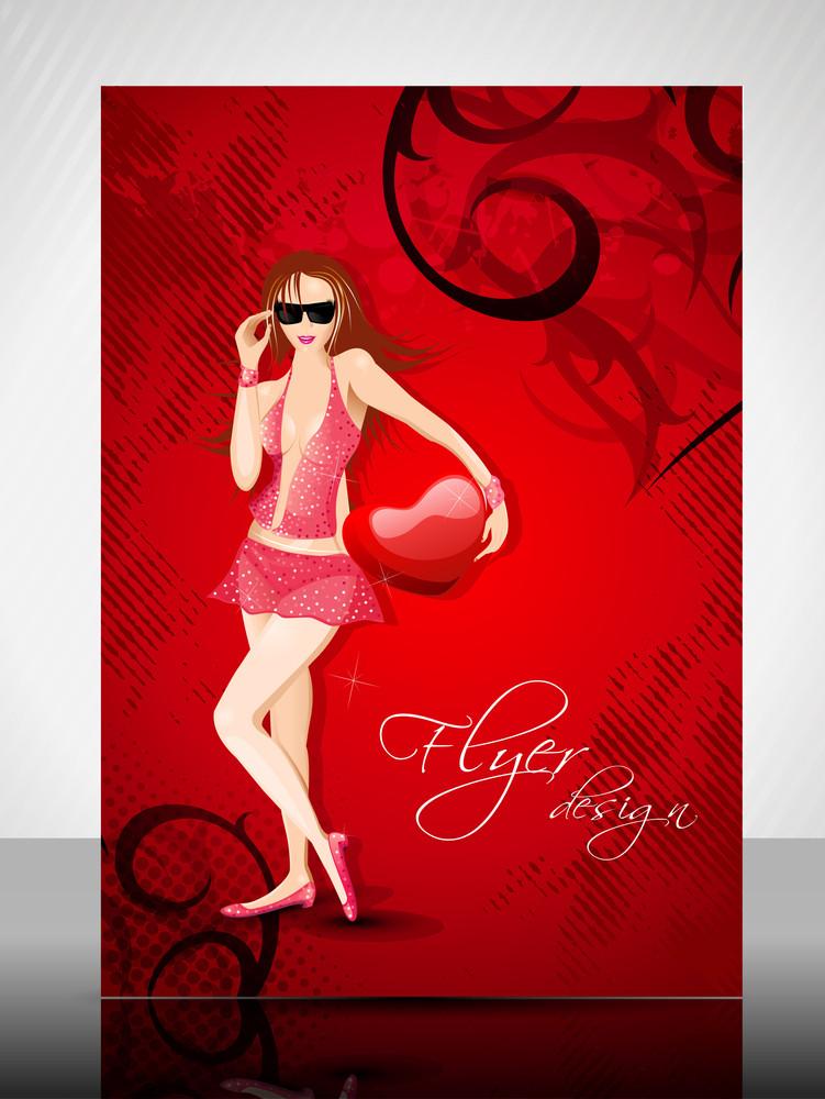 Eps 10 Love Concept Flyer Design Presentation With Girl. Editable Vector Illustration.