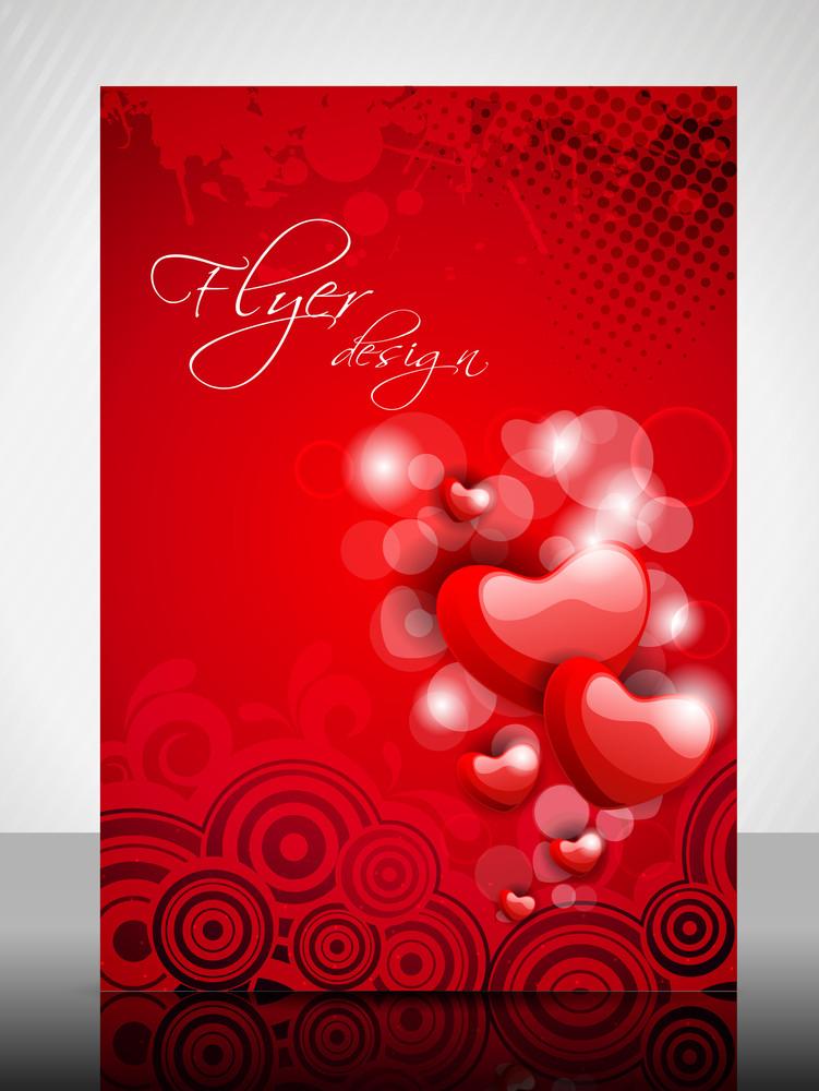 Eps 10 Love Concept Flyer Design Presentation With Love Heart. Editable Vector Illustration.