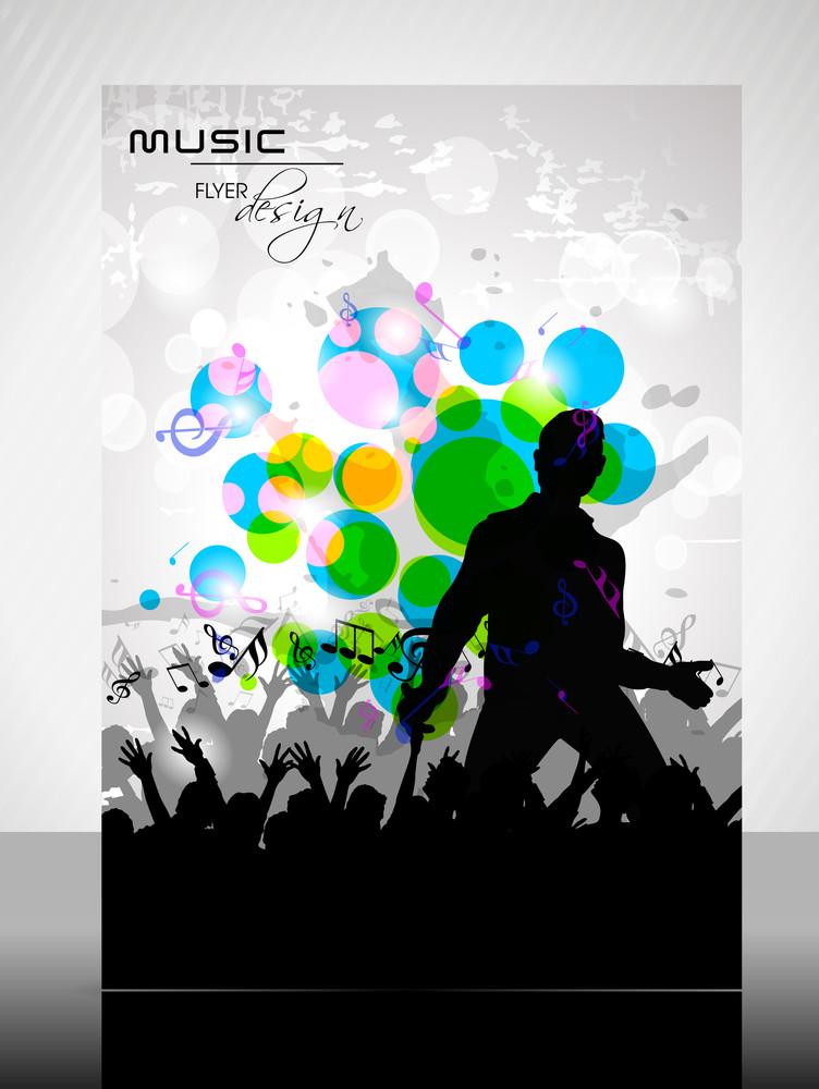 Eps 10 Music Concept Flyer Design Presentation With Music Instrument. Editable Vector Illustration.