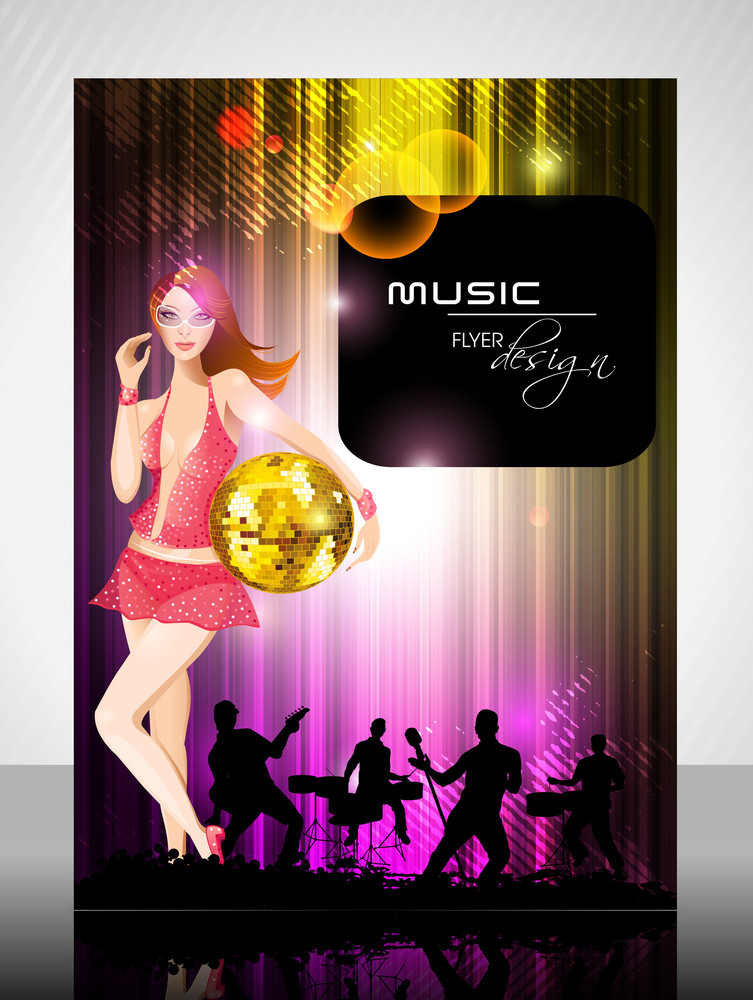 Eps 10 Music Concept Flyer Design Presentation With Music Instrument. Editable Vector Illustration.