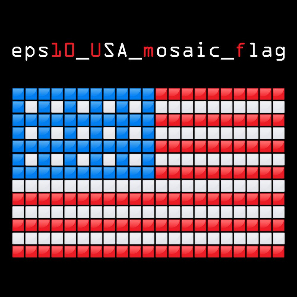 Eps10 Mosaic Usa Flag