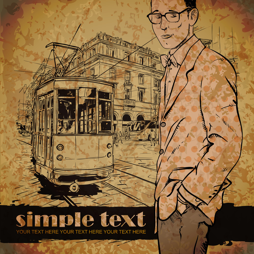 Eps10 Vector Illustration Of A Young Stylish Guy And Old Tram. Vintage Style.