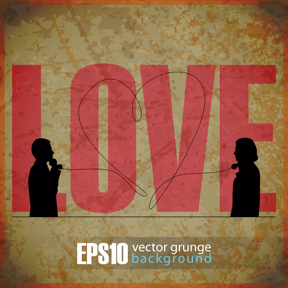 Eps10 Vintage Background With Abstract Romantic Ilustration Of Two People Speaking By Phone