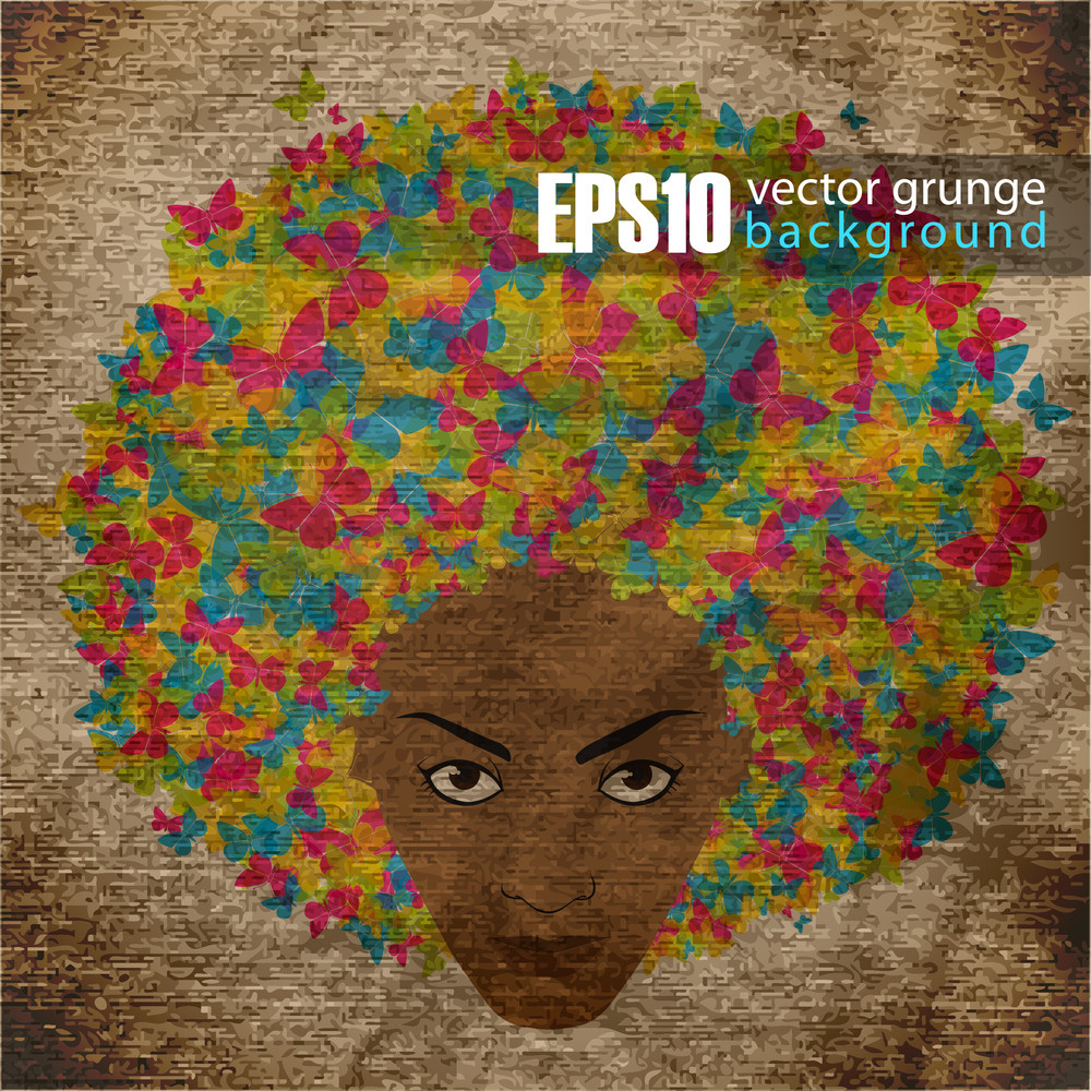 Eps10 Vintage Background With Abstract Womans Head
