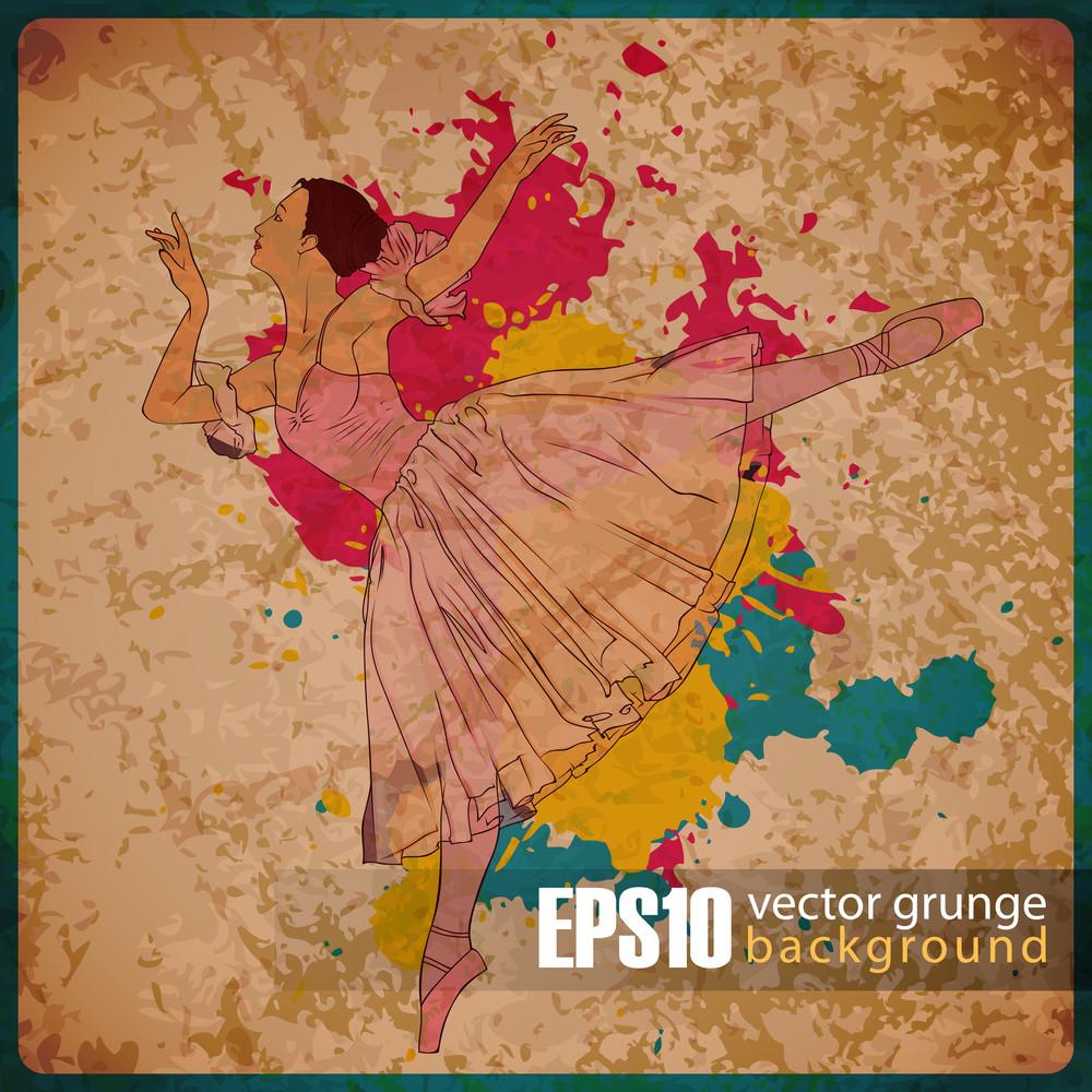 Eps10 Vintage Background With Balerina