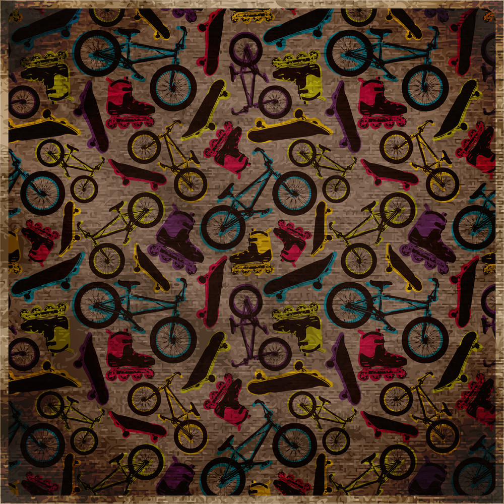 Eps10 Vintage Background With  Bicycles