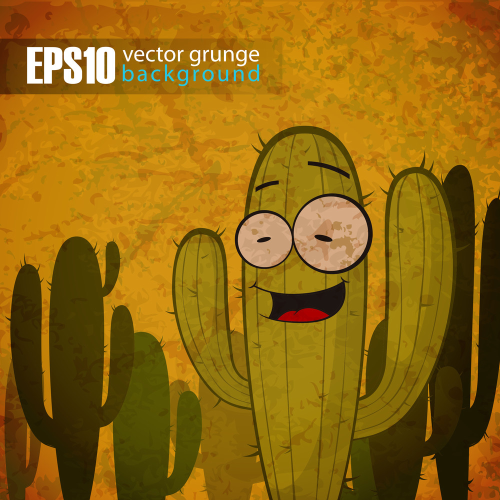 Eps10 Vintage Background With Cactus Character.