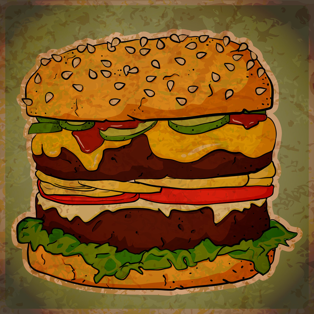 Eps10 Vintage Background With Cartoon Ham Burger