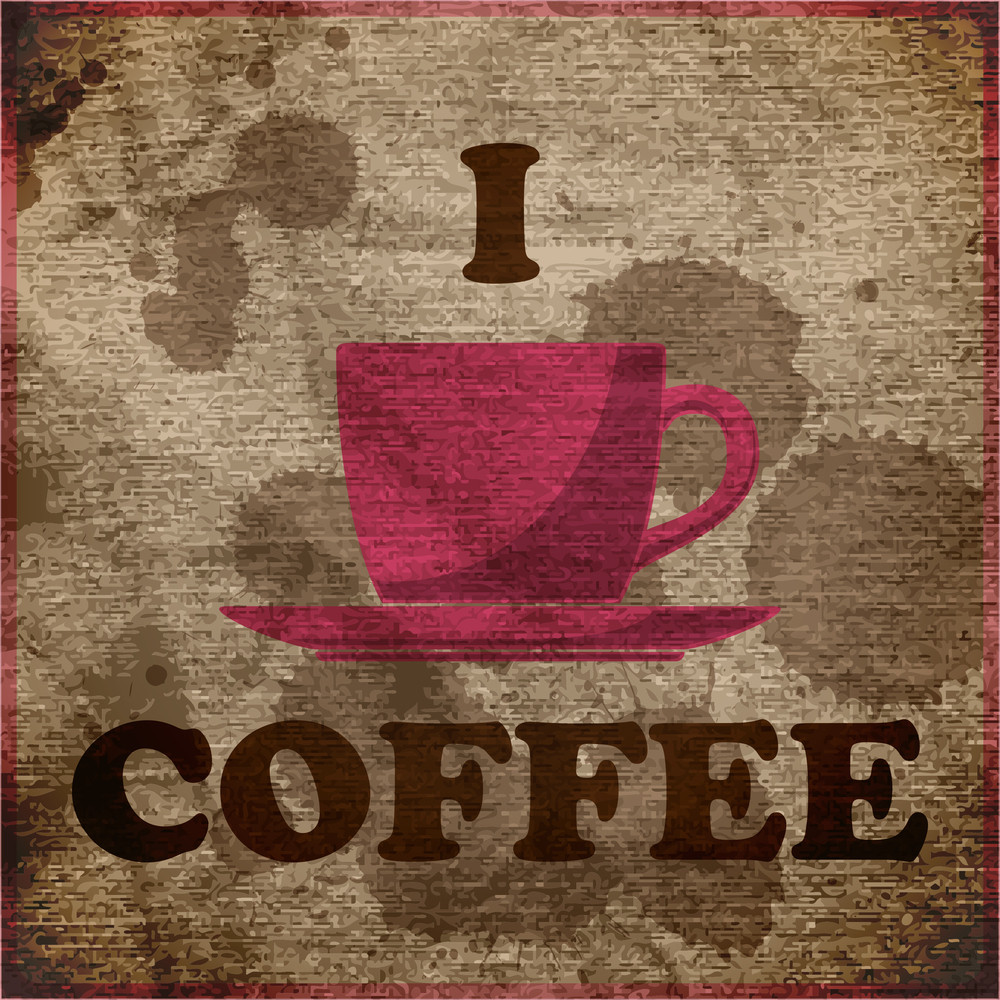Eps10 Vintage Background With Coffee-cup And Text