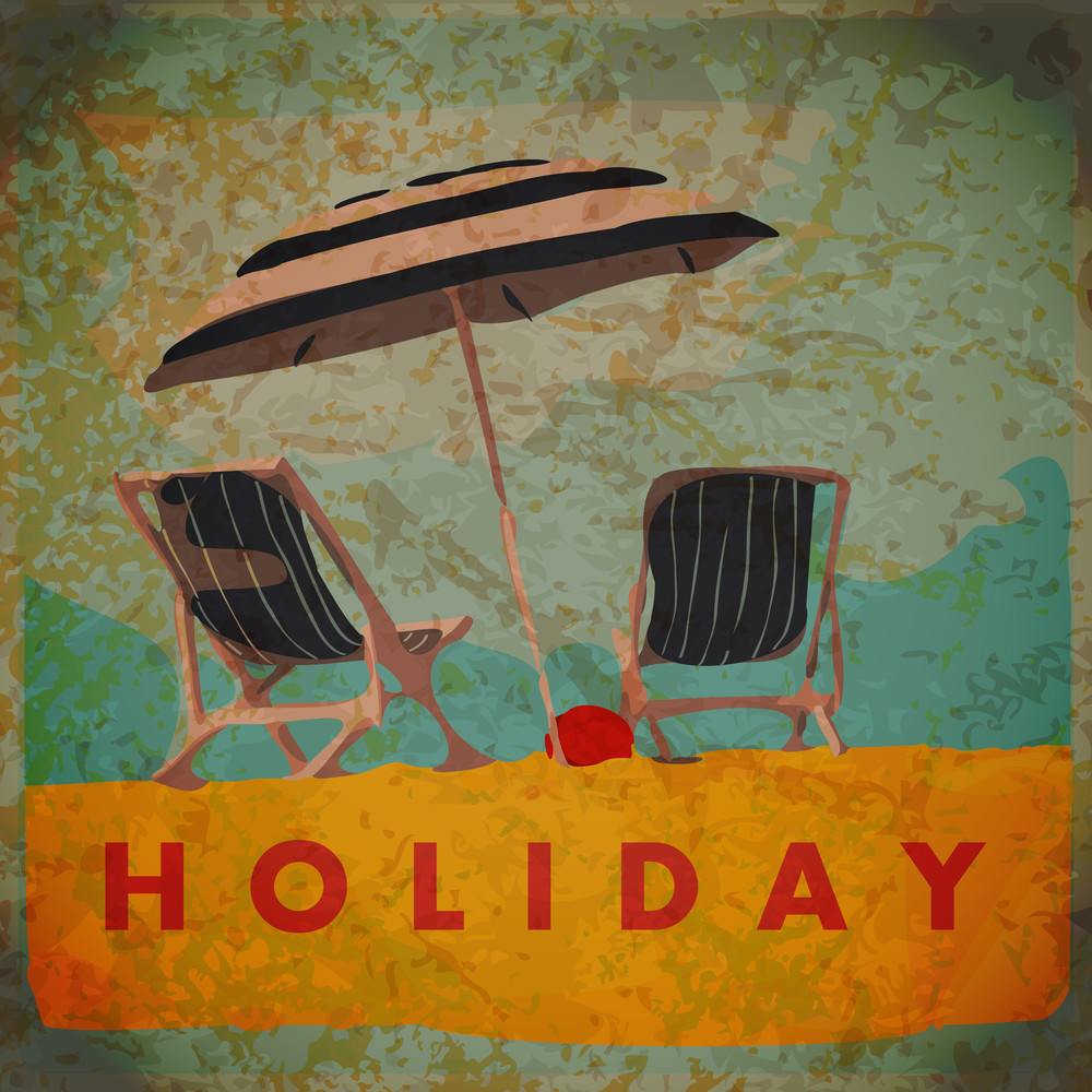 Eps10 Vintage Background With Deck Chair And Umbrella