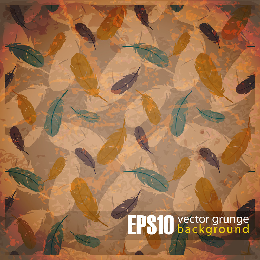 Eps10 Vintage Background With Feathers