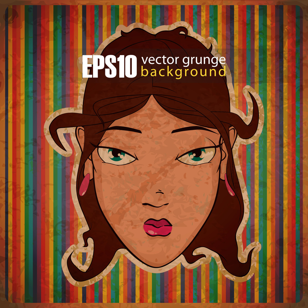 Eps10 Vintage Background With Girl Face