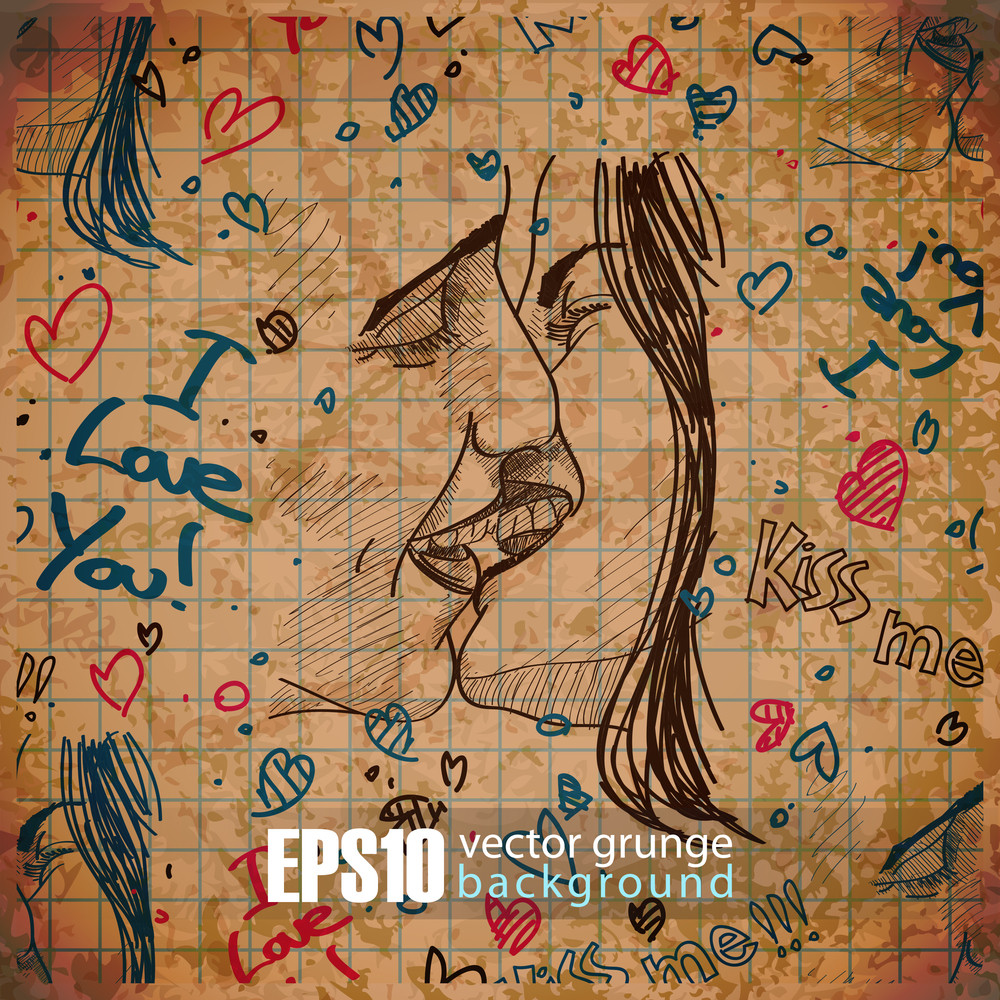 Eps10 Vintage Background With Kissing Boy And Girl