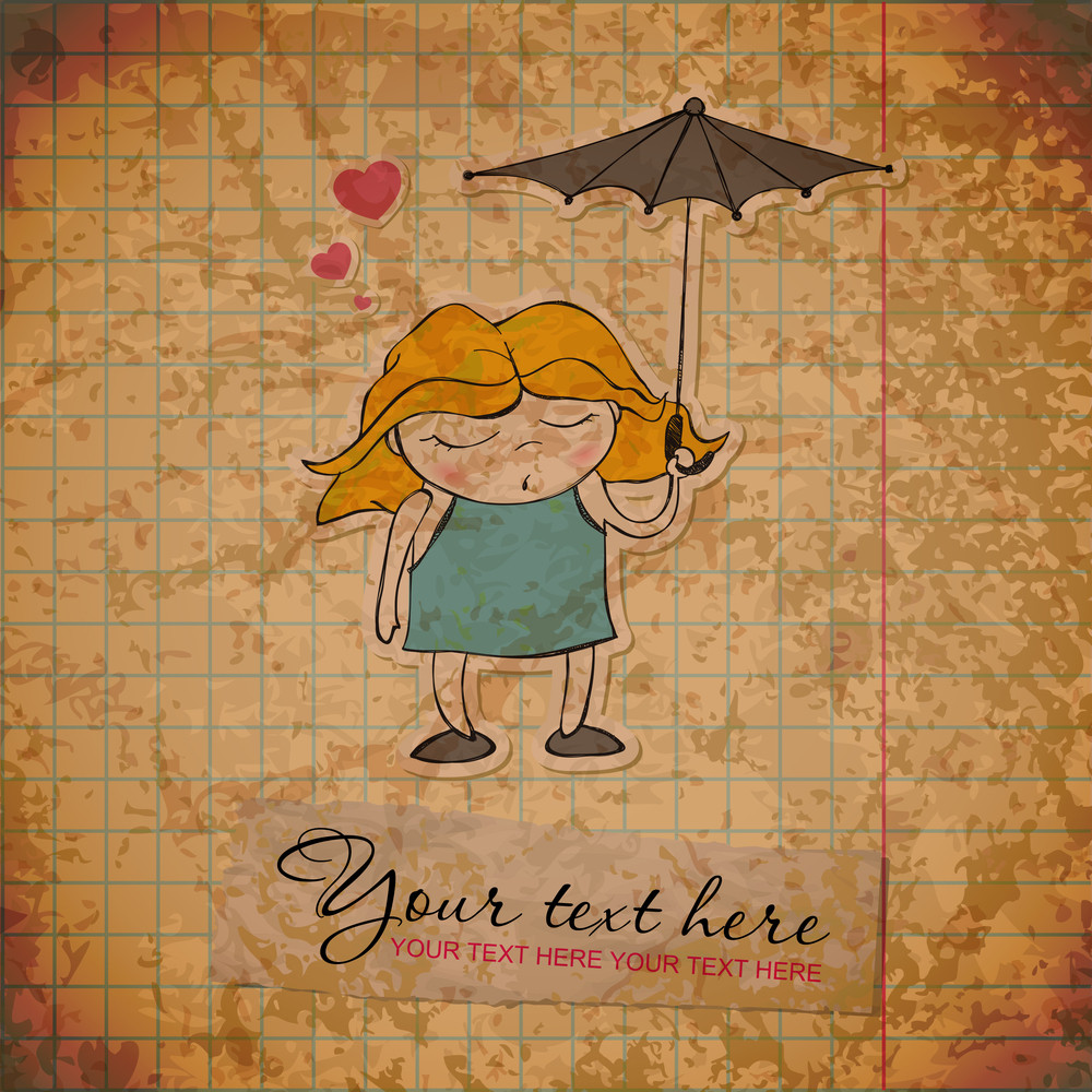 Eps10 Vintage Background With Little Girl Character