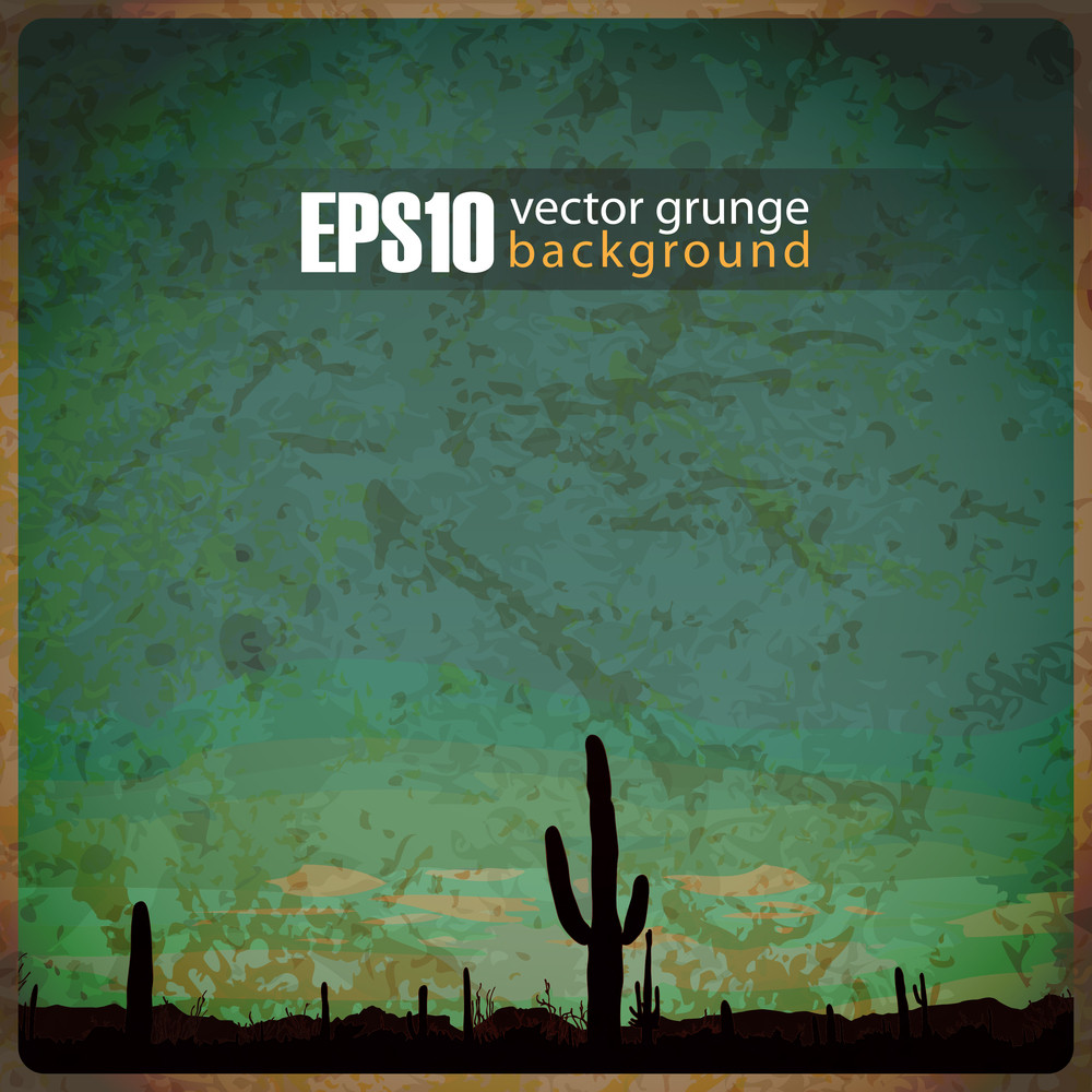 Eps10 Vintage Background With Mexican Desert Sunrise