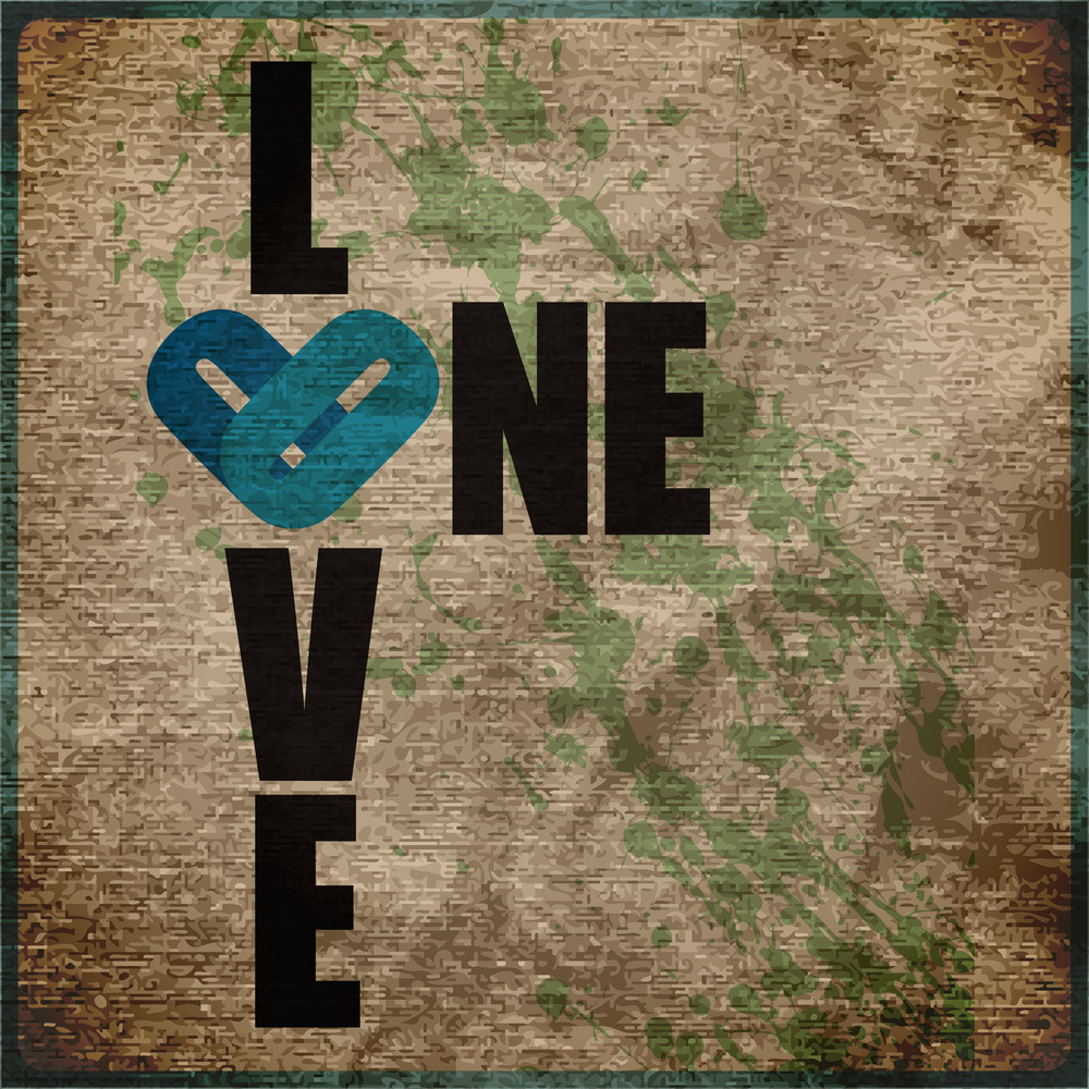 Eps10 Vintage Background With One Love Grunge Text