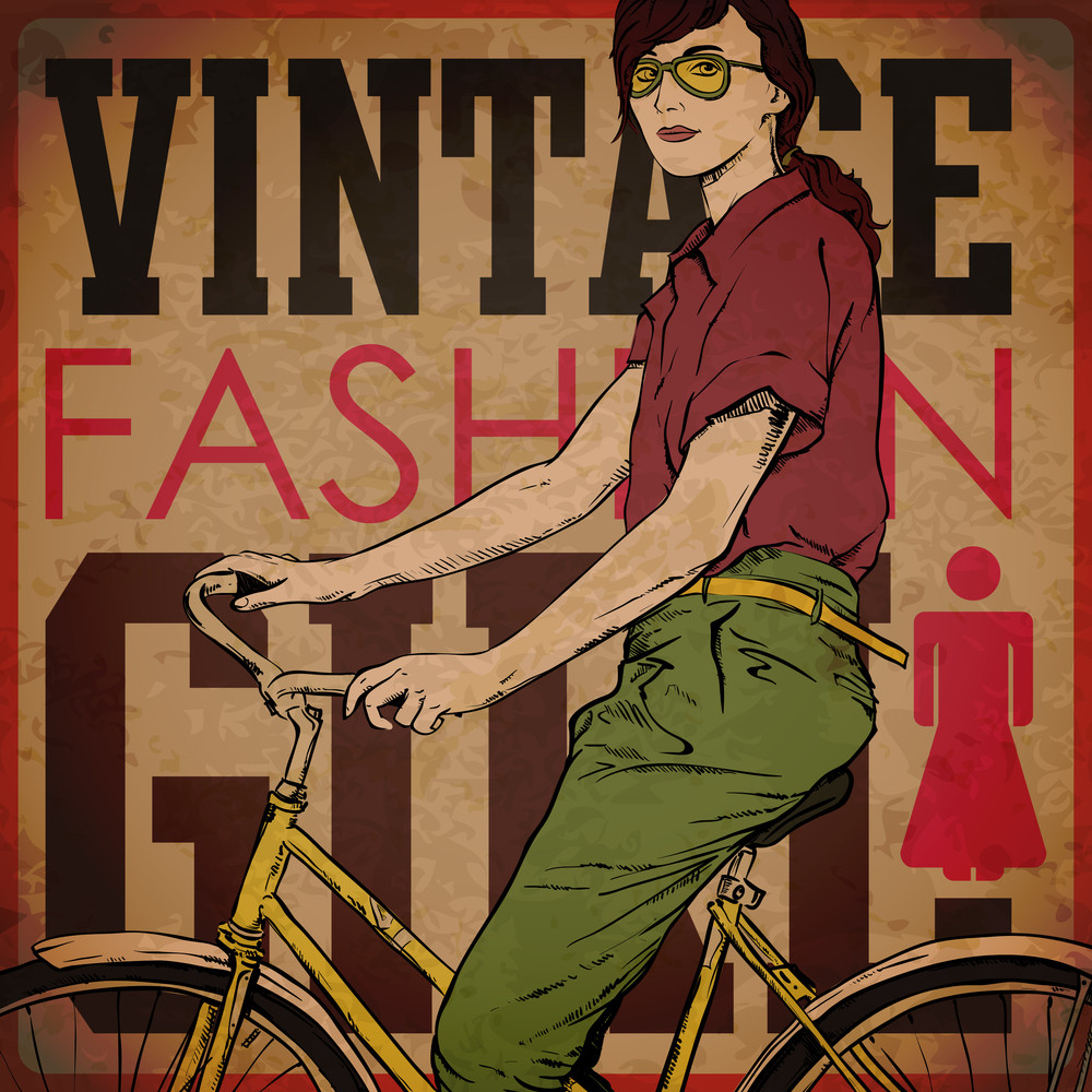 Eps10 Vintage Background With Pretty Girl With Bicycle