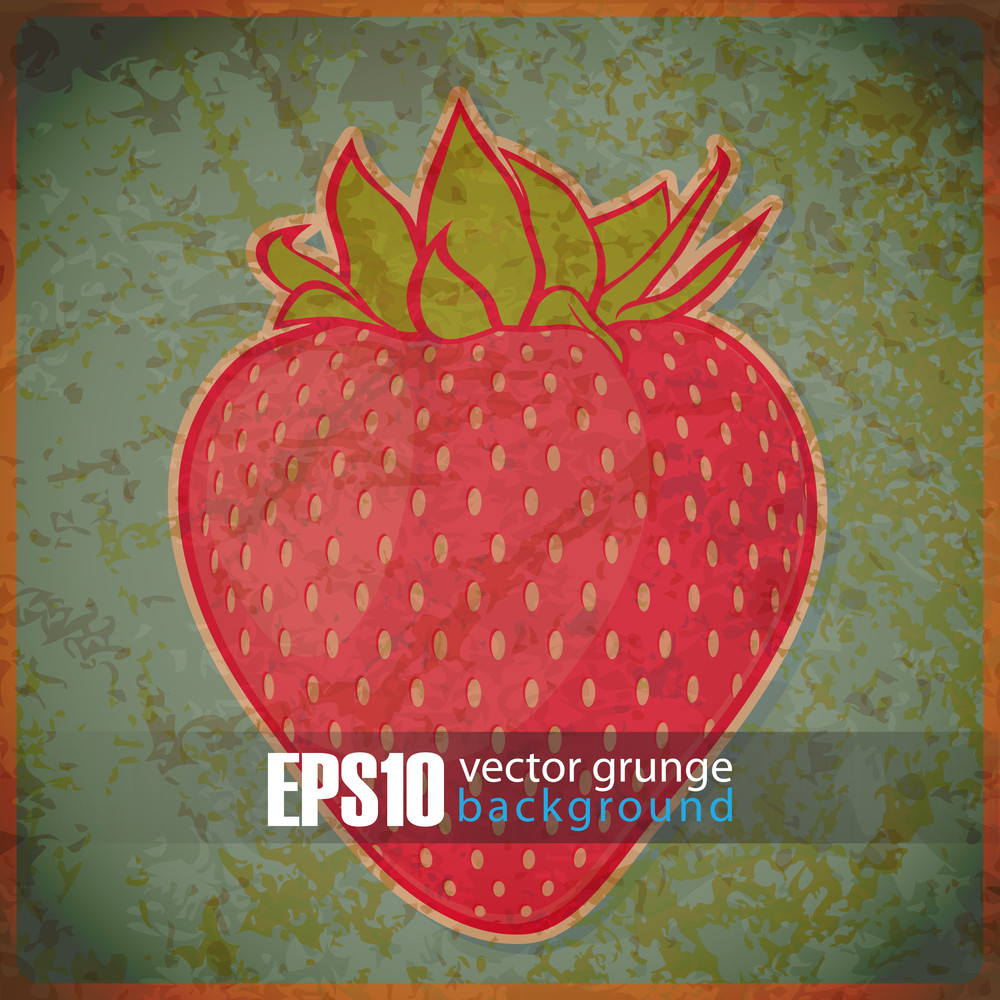 Eps10 Vintage Background With Strawberrie