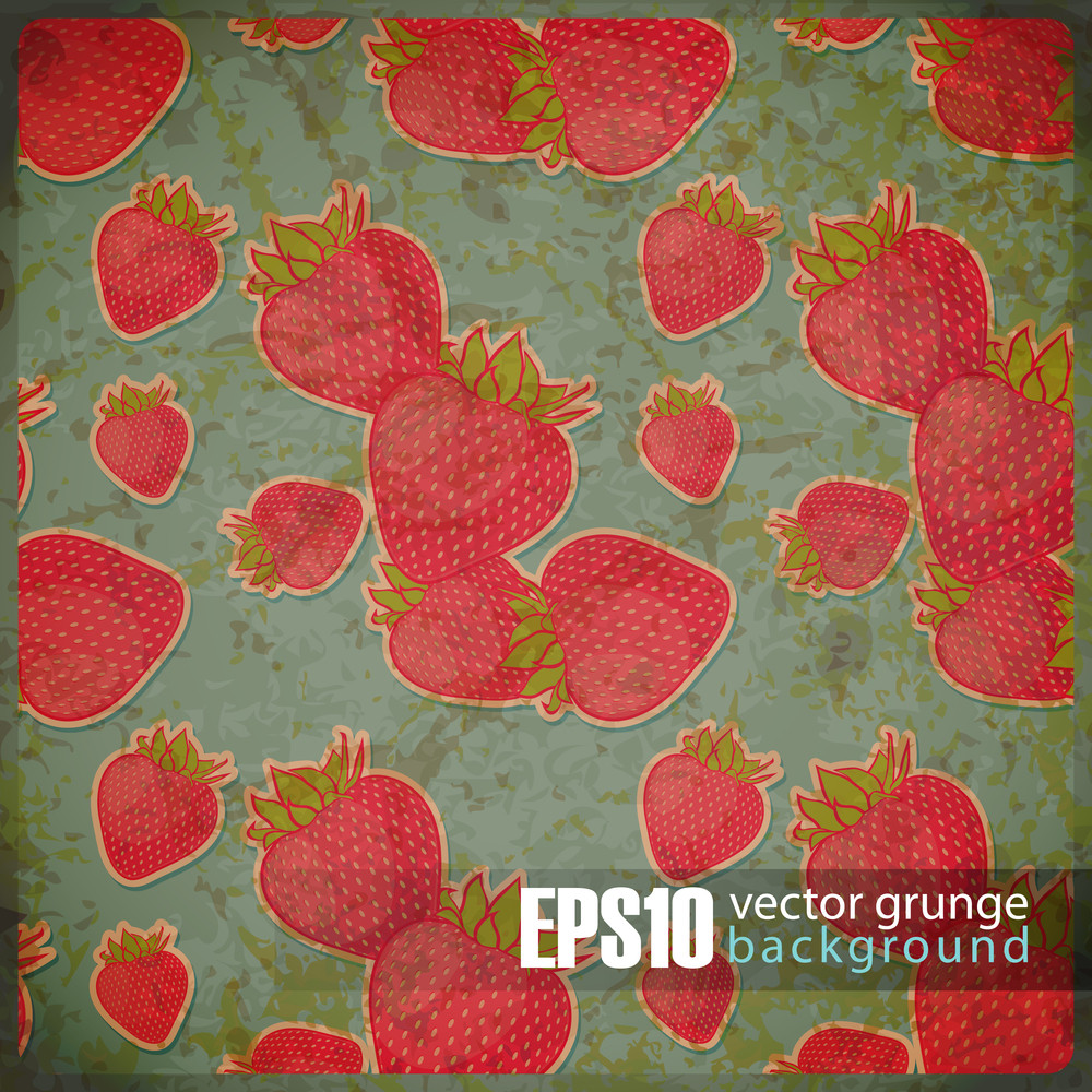 Eps10 Vintage Background With Strawberries