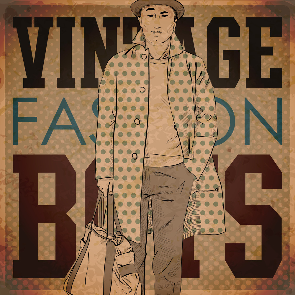 Eps10 Vintage Background With Stylish Autumnal Dude