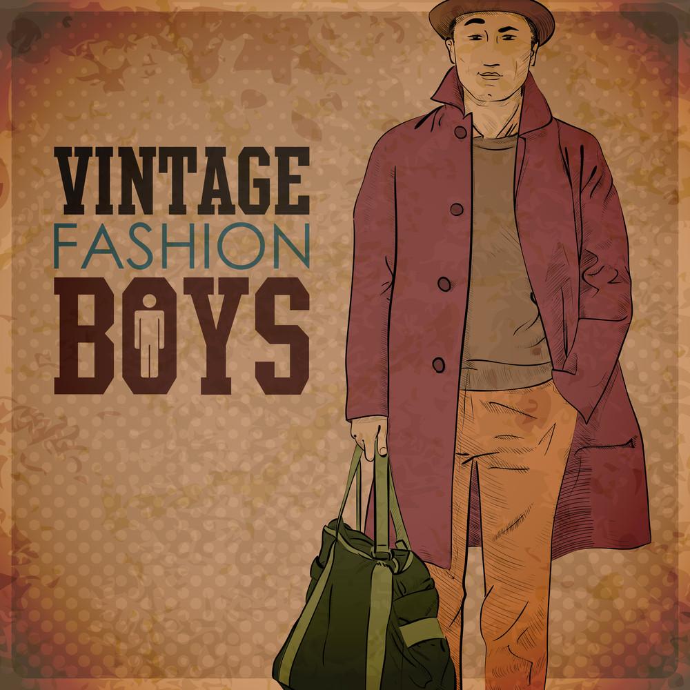 Eps10 Vintage Background With Stylish Autumnal Dude