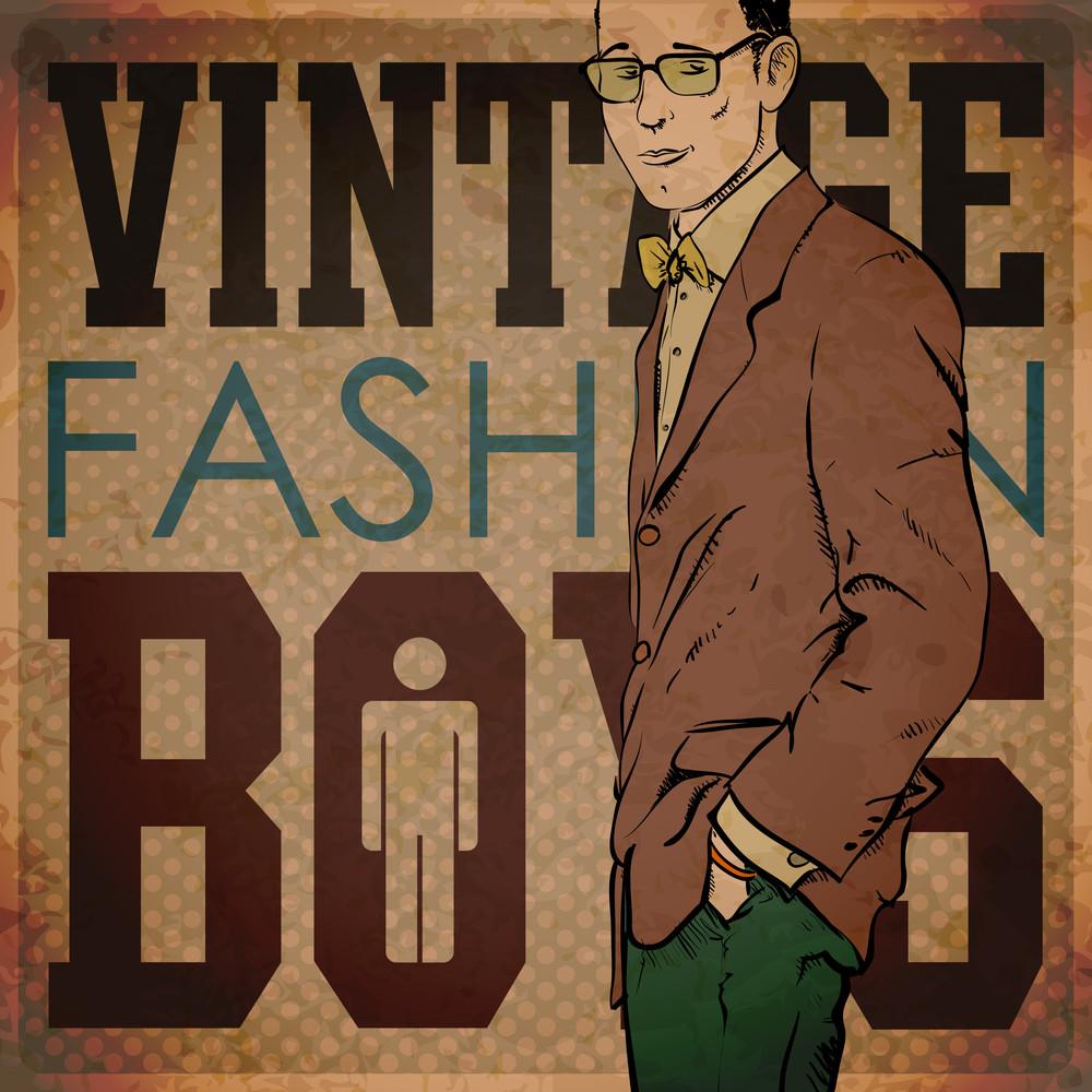 Eps10 Vintage Background With Stylish Dude
