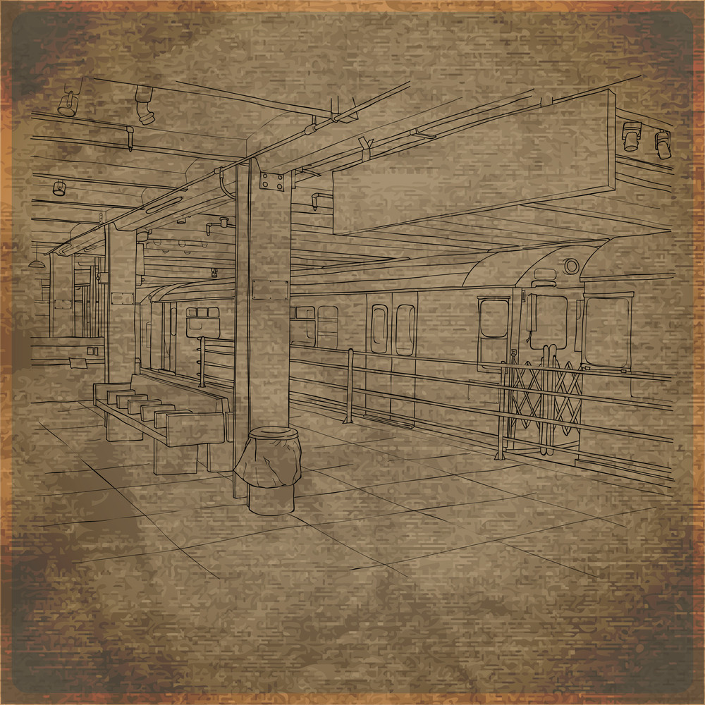 Eps10 Vintage Background With Subway Station